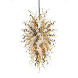 $enCountryForm.capitalKeyWord UK - Longree Customized Colored Blown Glass Long Chain Decorative LED Chandelier antique indian hanging glass lamp