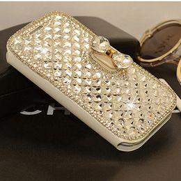 H Case Australia - Luxury Bling Bowknot Crystal Diamond Wallet Flip Case Cover For iP h one Samn sung
