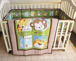 $enCountryForm.capitalKeyWord Canada - Baby bedding set Embroidery Giraffe Monkey Combination Cartoon Animals Crib bedding set 100% cotton 6pcs Cot Quilt Bed Around Cot bedding