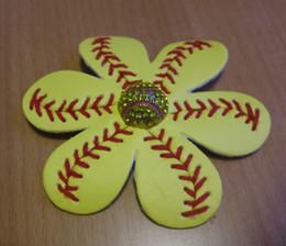Silver diamond hair bowS online shopping - NEW Softball baseball Flower softball Flower Hair Clip and Accessory Softball Hair Bows Softball Leather Flower