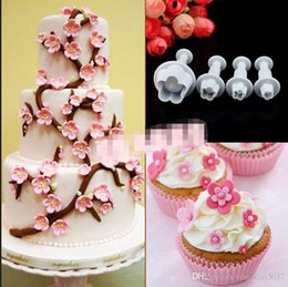Tools Utensils Canada - 2015 Hot Sale Special Offer 4pcs Plum Blossom Spring Die Sugar Cakes Baked Plastic Utensils Modeling Tools, Kitchen Gadgets TY1685
