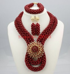 Indian Coral Beads Australia - Free Shipping African Coral Beads Wedding Jewelry Set Beautiful Costume Jewelry Set Hot Sale HT204-2