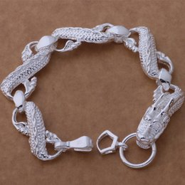 Discount great easter gifts - Free Shipping with tracking number Top Sale 925 Silver Bracelet Great White Dragon Bracelet Silver Jewelry 10Pcs lot che
