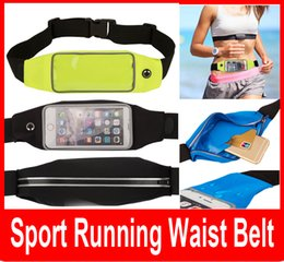 Wholesale Sport Running Waist Belt Fanny Fitness Bag W Touch screen Runner Pouch for iPhone S Plus Galaxy S5