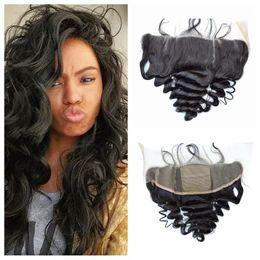 Discount bleached peruvian wavy hair - Indian Loose Wave Human Hair Silk Lace Frontal Closure Bleached Knots Virgin Wavy Lace Frontals Bbay Hair