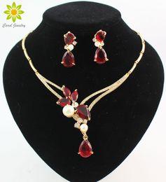 2d9cfb6d08a8 18 K chapado en oro negro   azul   rojo   morado cuentas de circón  colgantes de cristal collar pendiente sistemas de joyería de moda mujeres  del partido
