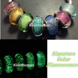 Wholesale 7pcs lots Loose Beads Handmade Lampwork 925 Sterling Silver Fluorescence Murano Glass Charm Bead Fits European Pandora Jewelry Bracelets