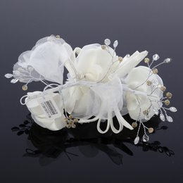 ivory flower fascinator Australia - Free Shipping Handmade Flower Bridal Hair Accessories Rhinestone Embellished Ivory Or Coral Wedding Party Fascinator Cheap Tiaras Exquisite
