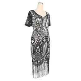 Barato Padrão Para Vestido De Festa Curto-Elegant Womens Evening Party manga curta lace Pattern Tassel Hem Stretchy Sheath Bodycon Fringe Dresses Plus Size