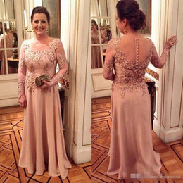 $enCountryForm.capitalKeyWord NZ - 2018 Elegant Long Sleeve Mother of the Bride Dresses For Weddings Lace Appliqued Sheer Jewel Neck Mothers Groom Formal Evening Gowns