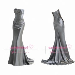 size hot 2019 - Silver Long Bridesmaid Dresses 2017 Hot Sale Strapless Pleated Satin with Beads Mermaid Sweep Train Maid of Honor Gowns