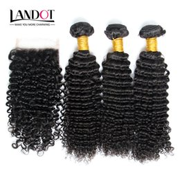 russian hair lace closure Canada - Russian Kinky Curly Virgin Hair With Closure 7A Grade Unprocessed Deep Curly Human Hair Weaves 3Bundles And 1Pcs Top Lace Closures Size 4x4""