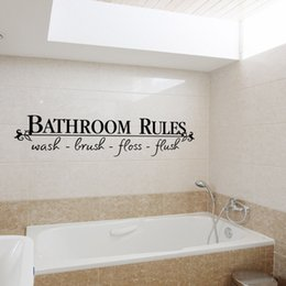 Bathroom Wall Sticker Quotes Australia - Hot sale wholesale Bathroom Rules English Quote Window Stickers Vinyl Wall Art Decals Home Decor free shipping