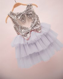 Robes Coeur Pour Bébé Pas Cher-2016 Baby Girls Tulle Lace Sequins Robes Kids Girl Robe coeur Bow Girl Princess TuTu Cake Party Dress Babies Vêtements d'été