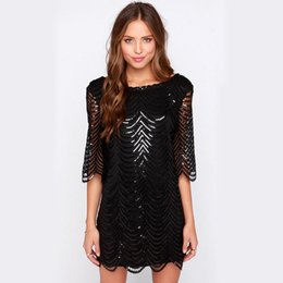 2017 HOT SALE Runway Dress Black Half sleeve Sequins Patchwork Hollow Out  Women Bodycon Party Dress Vestidos Clubwear gold sequin bodycon for sale 59009c65a5ca