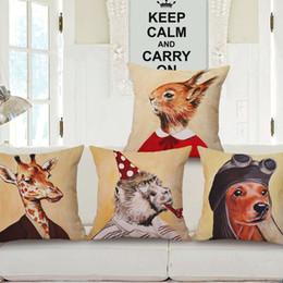 $enCountryForm.capitalKeyWord Canada - Cartoon Animals Dog Cat Rabbit Giraffe Gorilla Decorative Linen Cotton Pillow Case Cushion Cover Sofa Couch Pillows Cushions Covers Gift