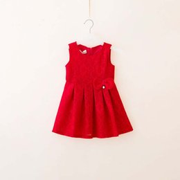Barato Vestido Cor-de-rosa Da Forma Coreana-Everweekend Girls Bow Lace Floral Ruffles Dress Lovely Kids Red and Pink Cor Moda coreana Autumn Party Clothing