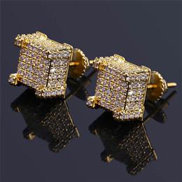 Screw ear online shopping - Fashion Screw back CZ Earrings Stud Men Brand Designer Hiphop Jewelry Gold Silver Zircon Pierced Ear Stud Jewellry