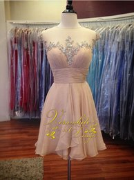 Lovely Evening Gowns Canada - Lovely Pink Homecoming Dresses Sheer Jewel Neck Chiffon A-Line with Beads Zipper Back 2016 Short Evening Party Gowns