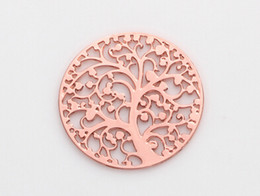 $enCountryForm.capitalKeyWord NZ - 20pcs lot Rose Gold 22MM Round Hollow Family Tree Floating Window Plates Fit For 30mm Magnetic Memory Glass Charms Locket