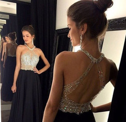 coral sequin bodice prom dress 2019 - 2016 Halter Crystal Beads Evening Dresses Sexy See Through Bodice Sleeveless Open Back Long Chiffon Prom Dresses Women P