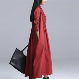 plus size linen clothes UK - 2017 Spring Cotton Linen Outerwear Open Stitch Long Plus Size Casual Women's Clothing Elegant Long Sleeve Trench Coat QS475
