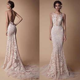 China Berta Lace Applique Mermaid Evening Dresses Wear Sheer Neck Backless Full length Custom Make Fishtail Prom Pageant Gowns Cheap suppliers