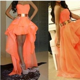 Barato Organza Drapeada-Frete Grátis Orange High Low Graduation Prom Dresses Homecoming Vestidos Drapeado Organza Strapless Hot Party Gown Custom Made P92