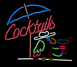 Parrot disPlay online shopping - Cocktails Umbrella Sandy Beach Parrot Neon Sign Drink Bar Store Pub Club Handmade Custom Real Glass Advertising Display Neon Signs quot X14 quot