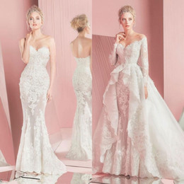 Zuhair Murad Mermaid Wedding Dresses NZ - 2016 Zuhair Murad Mermaid Lace Wedding Dresses Long Sleeves Detachable Train Sweetheart Neckline Applique Bridal Gowns 2015 Custom Made