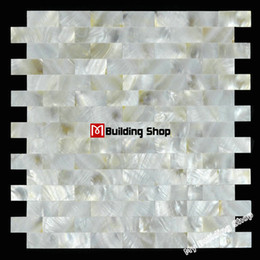 mother pearl kitchen Canada - Brick groutless mother of pearl kitchen backsplash tiles MOP085 white pearl shell mosaic bathroom wall tiles