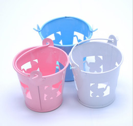 SweetS for baby Shower online shopping - White Blue Pink Pierced Baby Carriages Mini Favor Pail Candy Gift Box Sweet Tin plate Holder For Wedding Baby Shower Supplies