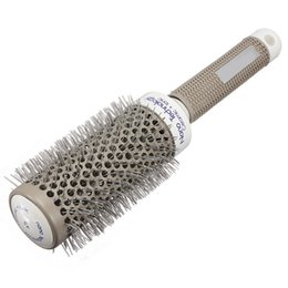 Discount nano ceramic hair 19mm-53mm Professional Nano Ceramic Ionic Round Comb Barber Hair Dressing Brush Salon Styling Tools 5 Sizes Barrel Hairb