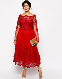 Light coraL Lace dress Long online shopping - Red Lace Plus Size Evening Dresses Square Neck Long Sleeve Tea Length Party Prom Dress Evening Gown For Special Occasion