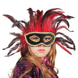 $enCountryForm.capitalKeyWord Canada - Noble Red Feather Black Leather Mask Masquerade Venice Princess Sexy Mask Half Face Halloween Party Women Performance Costume Decor 10pcs