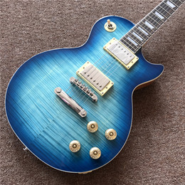 Maple guitar wood online shopping - High quality standard electric guitar in blue burst color with natural wood color of back hot selling guitarra