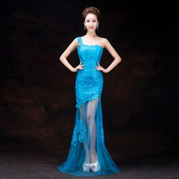 $enCountryForm.capitalKeyWord Canada - New Sky Blue Fashion Lace Tulle Mermaid One-shoulder Sweep Train Evening Dress 2015 Party Gowns Fast Ship