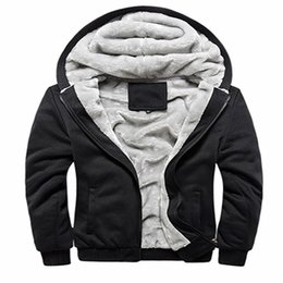 China Wholesale- 2017 Hot Sale Men's Hooded Casual Hoodies Clothing Wool Liner Mens Winter Thickened Warm Coat Male M-4XL Pure color cheap pure wool clothing suppliers