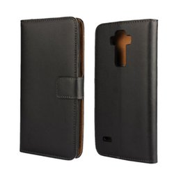 Chinese  Wholesale High Quality Black Genuine Leather Wallet Case Cover For LG G4 Stylus G Stylo with Stand Style and Card Holder Phone Bag manufacturers