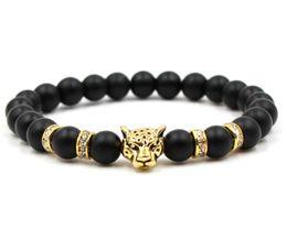 Price 18k bracelet online shopping - Natural Stone Black Beads Leopard Strand Bracelet Men Jewelry Animal Bangles Homme Femme Chain Ethnic Handmade Accessories price