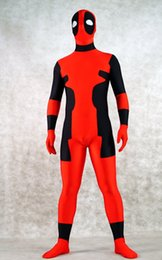 female deadpool costume NZ - red and black lycra spandex deadpool Cosplay costume Halloween Party Role Zentai Suit