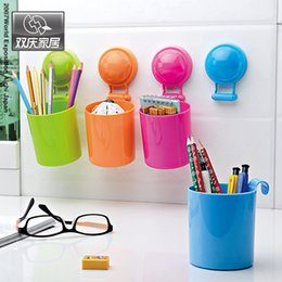 barrel cups UK - Double celebration home sucker kitchen racks storage barrels bathroom shelf bathroom wall hanging toothbrush holder single cup