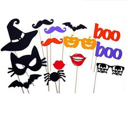 Halloween Photo Props Canada - 14pcs HALLOWEEN PHOTO BOOTH PROPS ON A STICK TRICK OR TREAT SCARY PHOTOGRAPHY