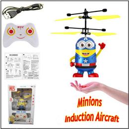 christmas present remote controlelectric rc minion induction aircraft fly ball ir led light helicopter mini toy free shipping