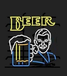 """$enCountryForm.capitalKeyWord NZ - Gentleman with Beer Cup Neon Sign Commercial Handcrafted Custom Real Glass Tuble Neon Bar KTV Club Pub Disco Display Neon Signs 15""""X19"""""""