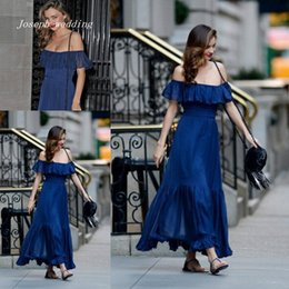 S'habille En Couleur Orange Pas Cher-Livraison gratuite Sexy Royal Blue Prom Gowns Nouvelle couleur Miranda Kerr Long Off Shoulder Evening Dresses