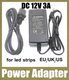 Discount 12v dc power cables - dc ac power adpater charger battery supply 12v 3a power charger with usb cable for waterproof led strip eu au us uk plug