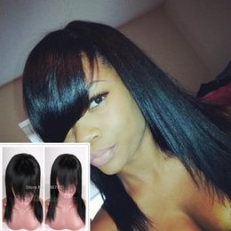 Yaki Bangs Canada - Top 8A Grade 100% Light Yaki Lace Wig With Bangs Virgin Peruvian Free Part Lace Front Full Lace Human Hair Wigs For Black Women