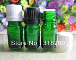 $enCountryForm.capitalKeyWord Canada - Free shipping - 200 lot 5ml green glass essential oil bottle with plastic cap, cosmetic packaging, essential oil container