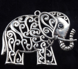 China Hollow Flower Elephant With Black Rhinestone Eyes Charms 15pcs lot 65x48.5mm New Tibetan Silver Pendants Jewelry DIY L1185 cheap flower elephant suppliers